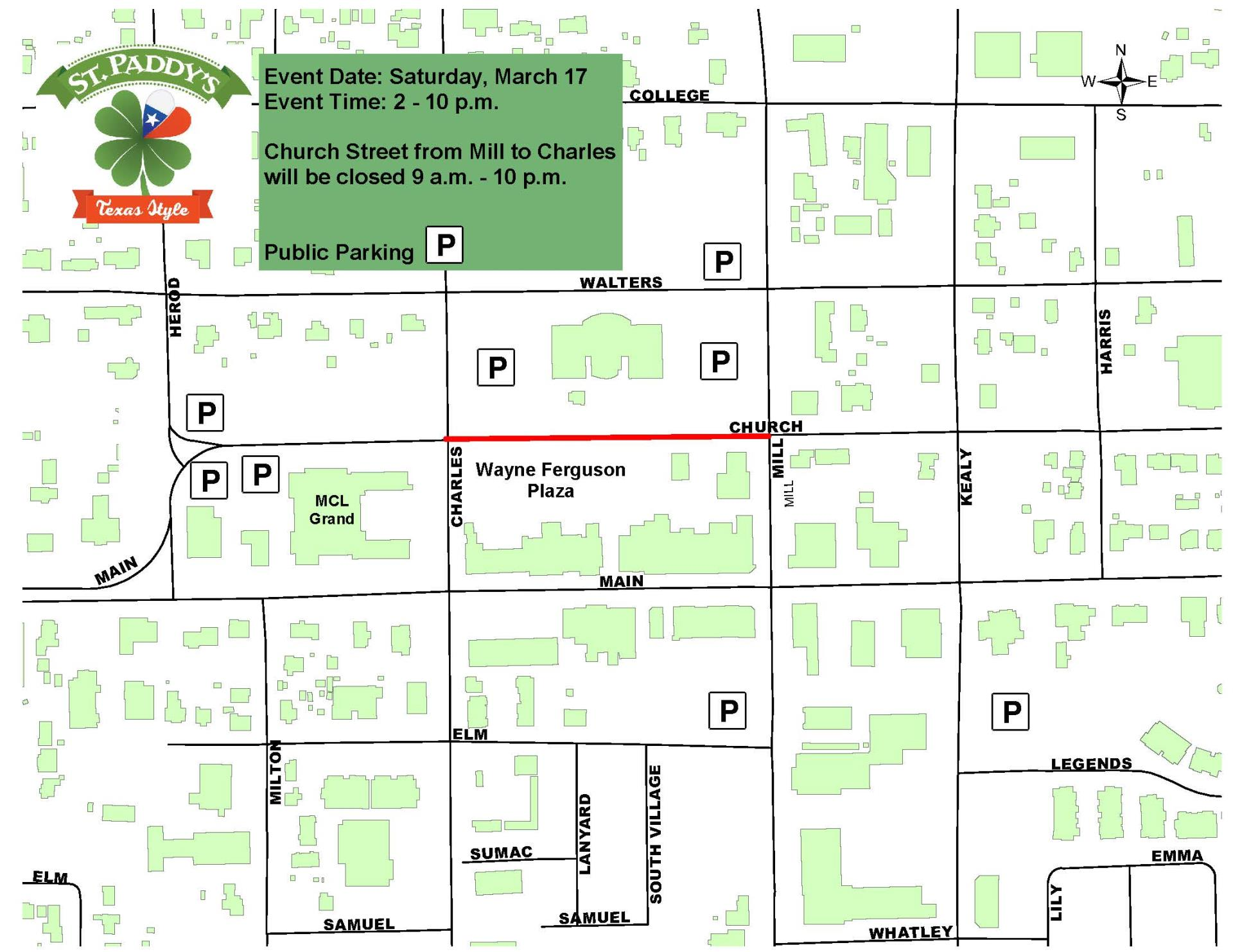 St. Paddy's street closure and parking map
